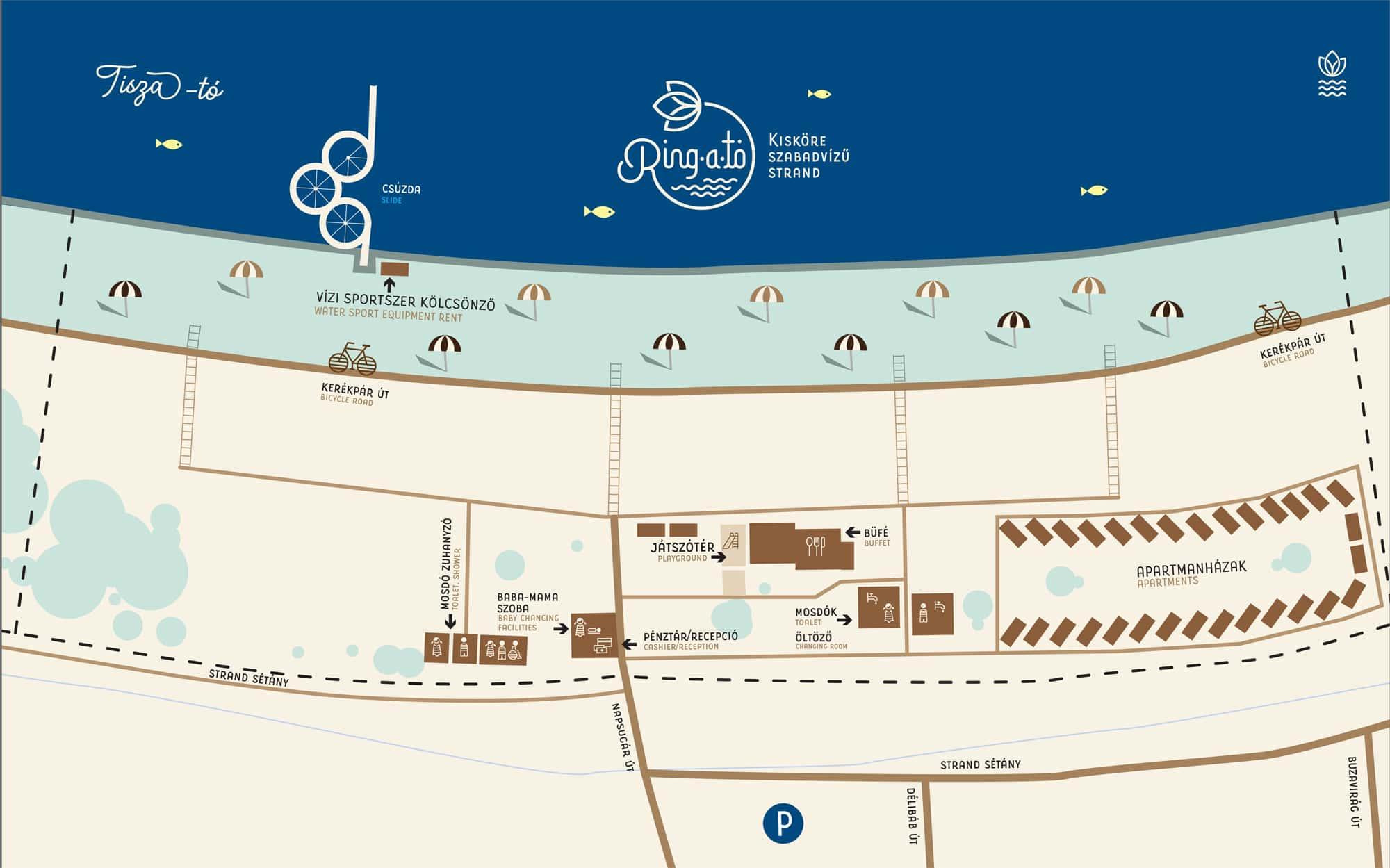 Ring-a-tó Kisköre Strand és Apartmanpark térkép